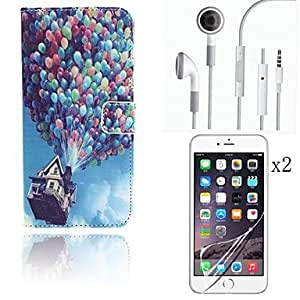Balloon Pattern PU Leather Full Body Case with Card Slot Cover with Protective Film 2 Pcs and Headset for iPhone 6