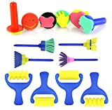 BeeChamp 14pcs Children Educational Sponge Art Painting Brushes Rollers Stamps Set DIY Drawing Craft Kit for Kids