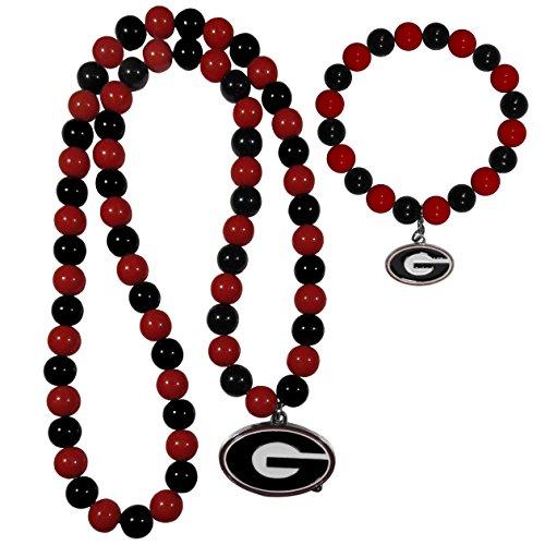 NCAA Georgia Bulldogs Fan Bead Necklace & Bracelet Set