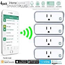 4 Pack iHome Control WiFI Smart Plug (Model iSP6WC) featuring Apple HomeKit and Android Compatibility , Features broadest platform support including Apple HomeKit (with Siri), Nest, Wink + More
