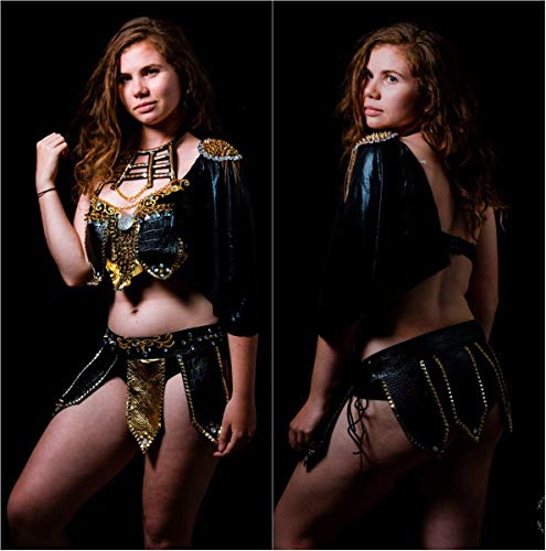 Sexy Leather Black and Gold Warrior Gladiator Viking Rave Bra and Skirt Dance Halloween Costume]()