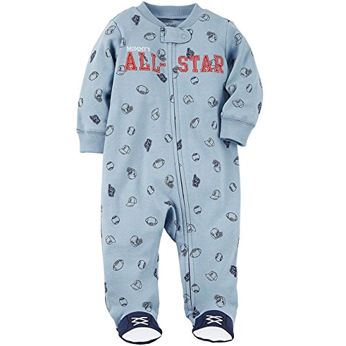 Sports Footed Sleeper (Carter's Baby Boys' Zip up Mom All Star Cotton Sleep and Play Newborn)