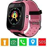 Girls Boys Smartwatch - GPS/LBS Position Tracker Child SOS Alarm Clock Wrist Watches Digital Camera Mobile Cell Phone Watch Best Gift Children for Kids Compatible with iOS/Android (S4-Pink)