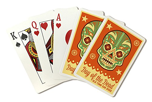 Old Town San Diego - Day of The Dead - Sugar Skull Mask (Playing Card Deck - 52 Card Poker Size with Jokers) -
