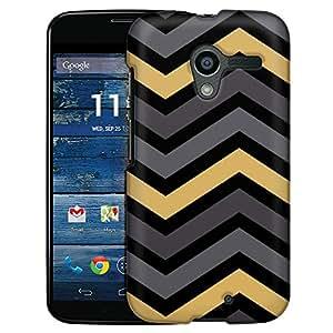 Motorola Moto X Case, Slim Fit Snap On Cover by Trek Chevron Grey Gold Black Case