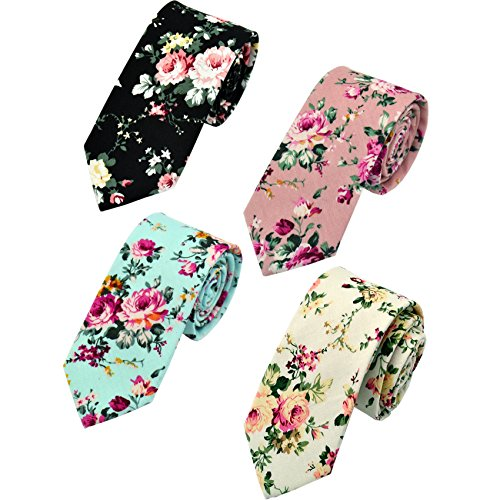 Men's Fashion Causal Cotton Floral Printed Tie Necktie Skinny Ties for Men Pack of - Printed Shirt Dress Jersey Matte