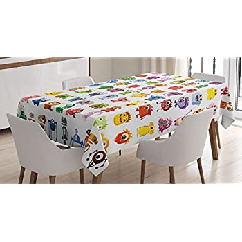 Etonnant Ambesonne Funny Decor Tablecloth, Little Fictional Fantasy Cartoon  Characters Fun Monsters Costumes Robots Toys Aliens