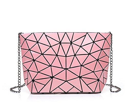 Flada - Bolso de tela para mujer gris plateado brillante mediano rosa