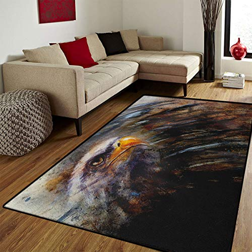 Eagle,Door Mats for Home,Painting Style Bird with Black Feathers on Abstract Backdrop Symbol of USA,Floor mat Bath Mat for tub,Brown Black Orange,6x7 ft ()