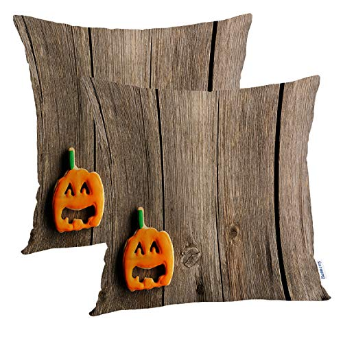 Batmerry Halloween Pillow Covers 18x18 inch Set of 2,Halloween Cookies Wooden Food Wood Cake Cookie Pumpkin Brown Creepy Throw Pillows Covers Sofa Cushion Cover -