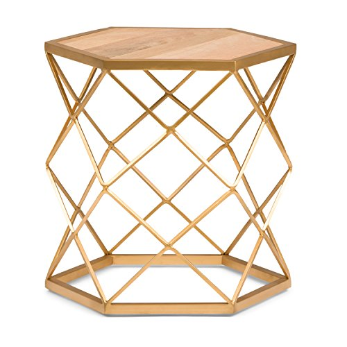 (Simpli Home AXCMTBL-14 Kristy  Round 20 inch wide Metal and Wood Accent Accent Side Table in Natural, Gold)