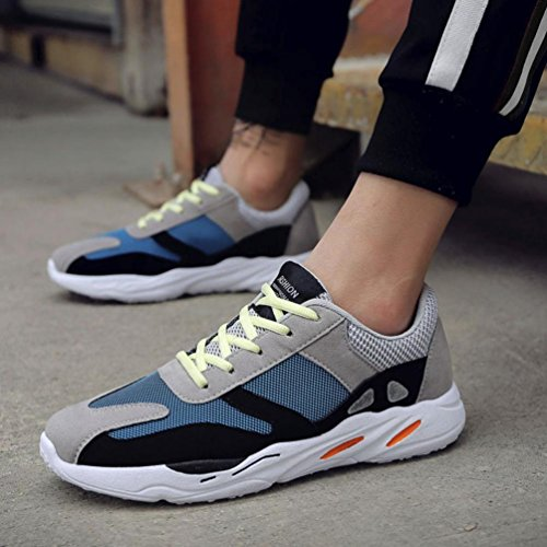 Bovake Casual Sneakers Shoes, Mesh Cloth Color Breathable Running Sneakers - Men's Casual Sport Shoes Patchwork Lace-up Sneakers - Gym Running Jogging Trainers Fitness Lightweight Shoes Blue