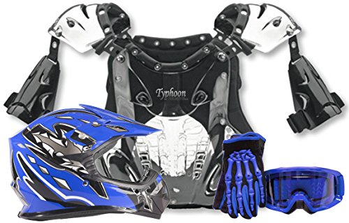 Kids Youth Offroad Helmet Gloves Goggles Chest Protector GEAR COMBO Motocross ATV Dirt Bike MX Black (Youth Dirt Bike Gear)