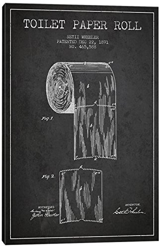 Amazon icanvasart toilet paper charcoal patent blueprint canvas icanvasart toilet paper charcoal patent blueprint canvas print 18quot x 075quot malvernweather Gallery