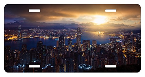 Urban License Plate By Lunarable  Aerial Skyline Of Night Victoria Peak Hong Kong City Skyscrapers Metropolis Image  High Gloss Aluminum Novelty Plate  5 88 L X 11 88 W Inches  Blue Golden