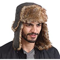 1f29c747e0a Trapper Hat with Faux Fur   Ear Flaps - Ushanka Aviator Russian Hat for  Serious Expeditions   Serious Style. Waterproof