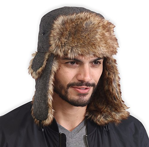 - Tough Headwear Trapper Hat with Faux Fur & Ear Flaps - Ushanka Aviator Russian Hat for Serious Expeditions & Serious Style. Waterproof, Windproof & Thermal Shell for Winter Warmth - Fits Men & Women