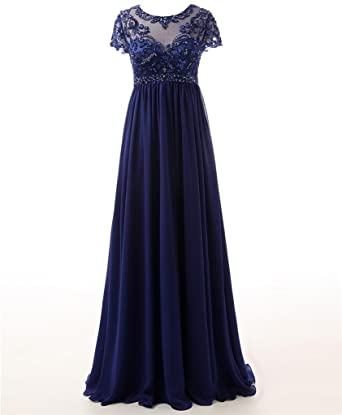 Changjie Womens Short Sleeve Navy Blue Bead Prom Dresses Formal Evening Gown
