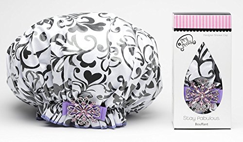 Neiman Marcus Cap - Dry Divas Designer Shower Cap For Women - Washable, Reusable - Large Bouffant Cap With Vintage Jeweled Brooch (I Heart U)