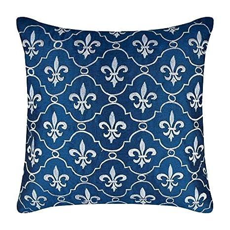 Lujo Azul Real Fundas De Almohada, francés Geométrico Funda ...