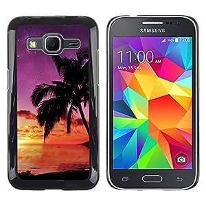 TopCaseStore / la caja del caucho duro de la cubierta de protección de la piel - Sunset coconut Beautiful Nature 121 - Samsung Galaxy Core Prime SM-G360