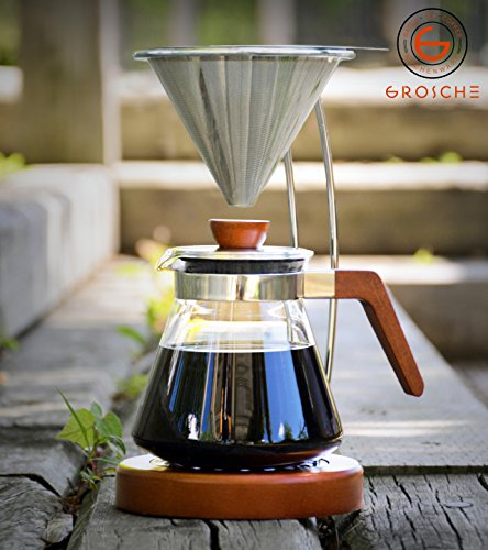 GROSCHE Frankfurt Pour Over Coffee Maker System with Reusable Filter and Coffee Server. 600ml/20.3 fl. oz by GROSCHE