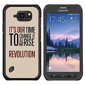 TECHCASE---Cubierta de la caja de protección para la piel dura ** Samsung Galaxy S6 Active G890A ** --Tiempo Revolución Libertad Rojo Mensaje