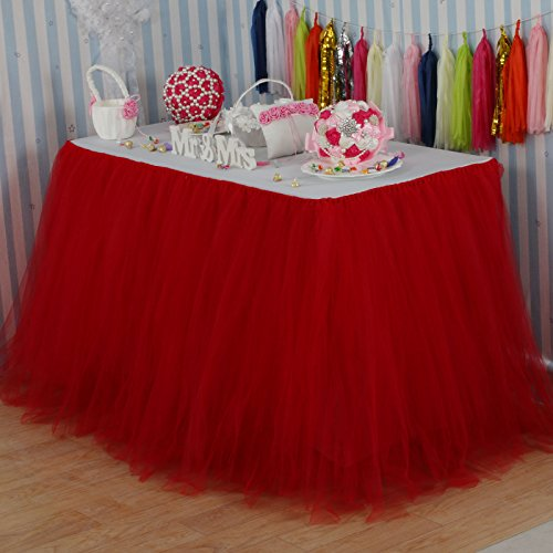 Vlovelife Red Tulle Table Skirt Tutu Tableware TableCloth Party Baby Shower Birthday Wedding Decorations Favor 100cm X 80cm Customized Size Available -