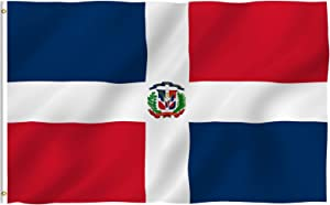 Anley Fly Breeze 3x5 Foot Dominican Republic Flag - Vivid Color and UV Fade Resistant - Canvas Header and Double Stitched - Dominican National Flags Polyester with Brass Grommets 3 X 5 Ft