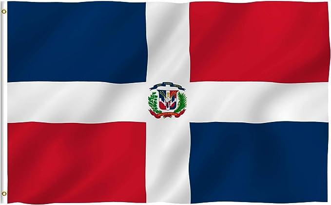 Anley Fly Breeze Bandera de República Dominicana de 3x5 pies - Color vívido y Resistente a la decoloración UV - Encabezado de Lona y Doble Costura - Banderas Nacionales dominicanas Poliéster: Amazon.es: Jardín