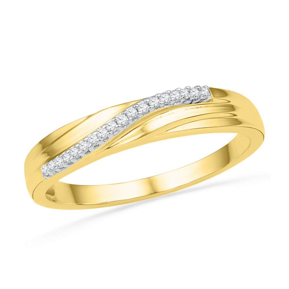 Womens Diamond Wedding Band Solid 10k Yellow Gold Anniversary Ring Curve Style Polished Fancy 1/20 ctw