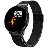 GOKOO Smart Watch for Men Women with All-Day Heart Rate Blood Pressure Full Touchscreen Stopwatch Sleep Monitor Waterproof Calorie Counter,Black