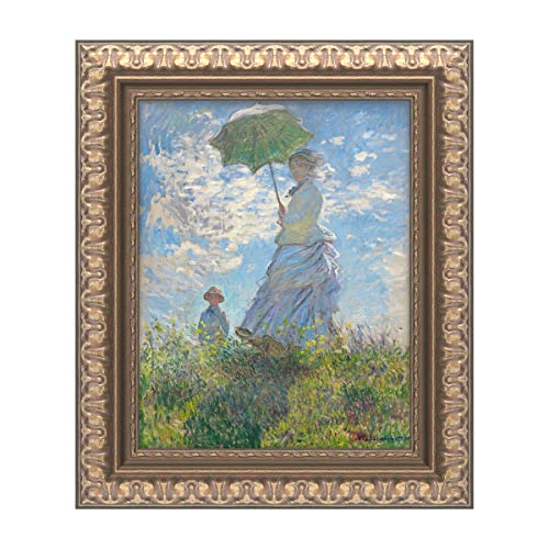 Gold Traditional Frame - Trademark Fine Art Woman with a Parasol 1875 by Claude Monet, Gold Ornate Frame 11x14, Multi-Color