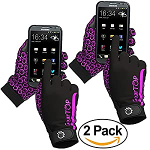 Touch Screen Gloves Bundle - Great for Running Rugby Football Walking (Pink, 2 Pack - Large)