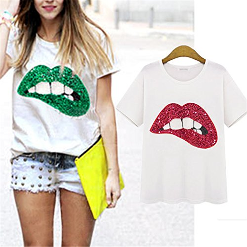 Fashion Casual Vestidos Printed Red Lips Womens T-shirts Brand Summer Short Sleeve Loose Top Tee Shirt at Amazon Womens Clothing store: