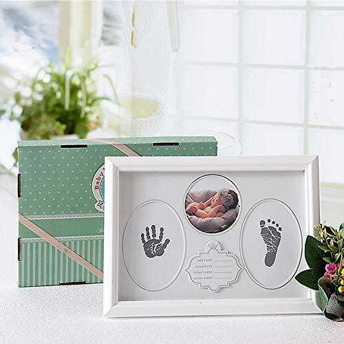 Baby Picture Frame Handprint Footprint Kit First Year Keepsake Photo White Wooden Ink Newborn Boys from GTGJ