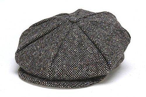 30f8985d661d8 Hanna Hats Men s Donegal Tweed 8 Piece Cap Newsboy Cap Gray Salt   Pepper  Large