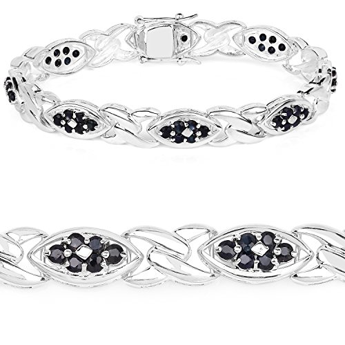 (3.53 Carat Genuine Blue Sapphire .925 Sterling Silver Bracelet)