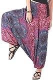 CandyHusky Women Gypsy Hippie Boho Baggy Loose fit Elastic Jumpsuit Harem Pants (Trident Mandala Purple)