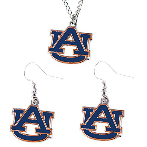 NCAA Auburn Tigers Sports Collegiate Team Logo Necklace And Dangle Earring Charm Set ()
