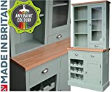 100% Solid Wood 3ft Buffet Hutch, Handcrafted & F&B Painted Bordeaux Options Contrasting Half Glazed Dresser with Wine Rack. (BX3GT-WRO) You Choose the Paint Finish! (30mm European Oak Top)