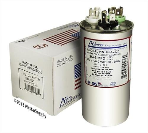 25 5 uf//Mfd 370//440 VAC AmRad Round Dual Universal Capacitor Made in The U.S.A. 2 Amana B94576000S Replacement Pack