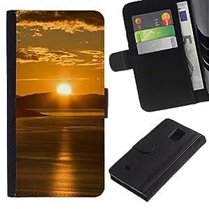 Ihec-Tech / Flip PU Cuero Cover Case para Samsung Galaxy Note 4 SM-N910 - Sunset Beautiful Nature 65
