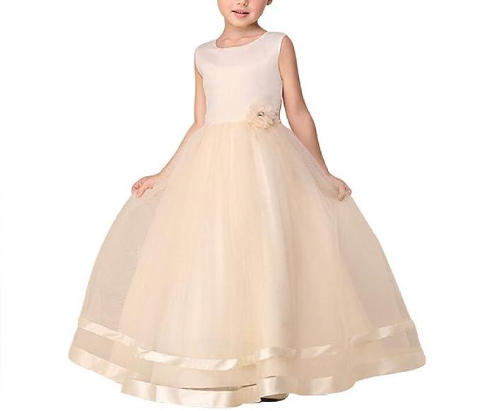 Oudan Color sólido Flor Larga Falda de la Flor niños Vestido de Fiesta de Verano para