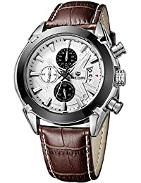 Megir Men Brown Military Pilot Multifunction Leather Quartz Wrist Watches