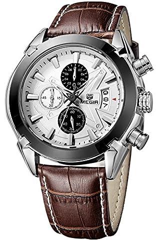 Megir Men Military Sports Chronograph Date Multifunction Leather Quartz Wrist Watch (Mens Leather Watches Small)