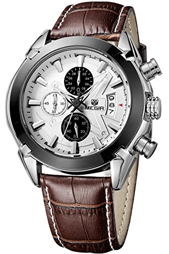 (Megir Mens Sport Leather Watch Military Chronograph Analog Quartz Multifunction Wrist Watch)
