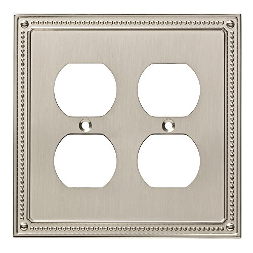 Franklin Brass W35064-SN-C Classic Beaded Double Duplex Wall Plate/Switch Plate/Cover, Satin - Outlet Liberty