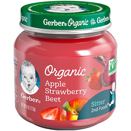 Gerber Purees Organic 2nd Foods Apple Strawberry Beet Baby Food Glass Jar, 4 oz ()