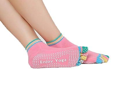 Wenquan - 3 Pares de Calcetines de Yoga para Mujer con Cinco ...